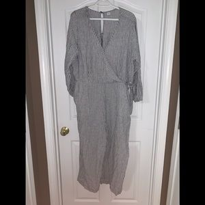 Old Navy, Grey & White Stripped, Jumpsuit